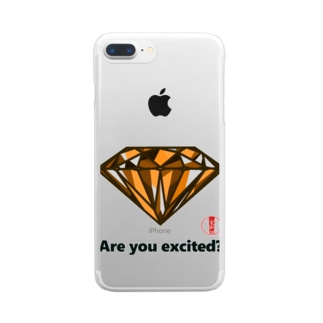 are you excited ? 橙 Clear smartphone cases