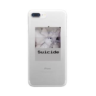 白殺クマ女の子 Clear smartphone cases