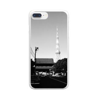 東京都:西日が当たる増上寺山門と東京タワー Tokyo: Temple gate of Zojoji & Tokyo Tower Clear Smartphone Case
