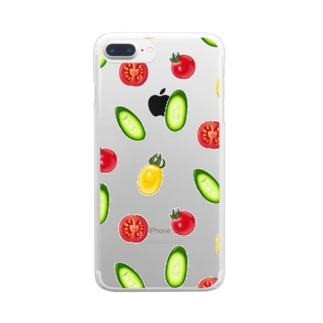 にくらしいキュウリトマトサラダ Clear smartphone cases