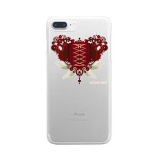 歯車(heart・R/レッド) Clear smartphone cases