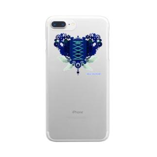 歯車(heart・B/ブルー) Clear smartphone cases
