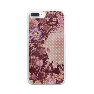 幸せのリース<ピンクセピア> Clear Smartphone Case