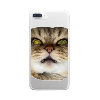 猫ネコショップの猫ネコ(顔) Clear Smartphone Case