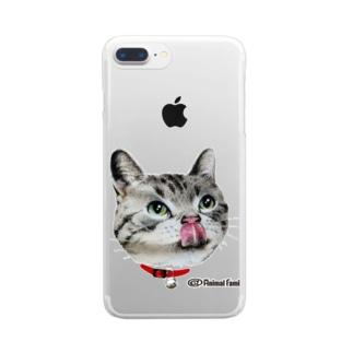 ねこ-1 ペロリ!美味しそう 手描きイラスト Clear smartphone cases