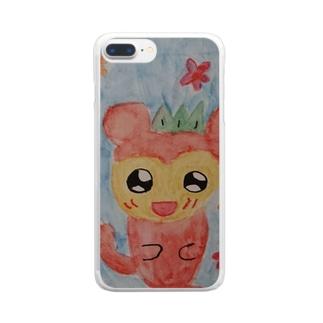愛らしいリスザル Clear smartphone cases