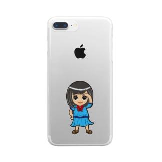 ちびキャラ/SCHOOLTYPE:青【一ノ瀬彩】 Clear smartphone cases