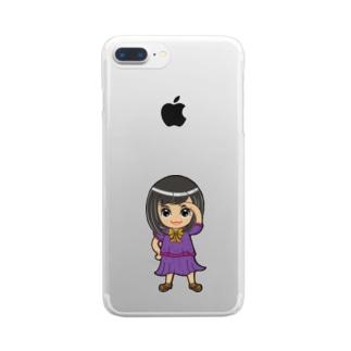 ʚ一ノ瀬 彩 公式 ストアɞのちびキャラ/SCHOOLTYPE:紫【一ノ瀬彩】 Clear smartphone cases