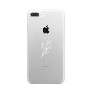 小さな青い花 Clear smartphone cases