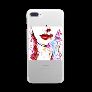 317_mのまっかのくちべに Clear smartphone cases