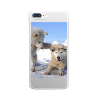 Teatime ティータイムの白い犬 dog park Clear smartphone cases