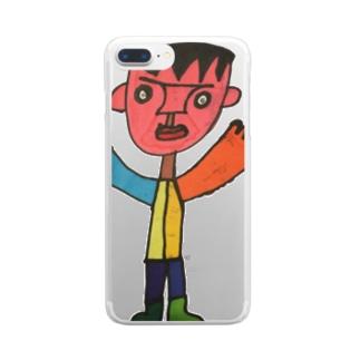 いっけー自画像 Clear smartphone cases