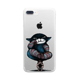 のしかかる猫 Clear smartphone cases