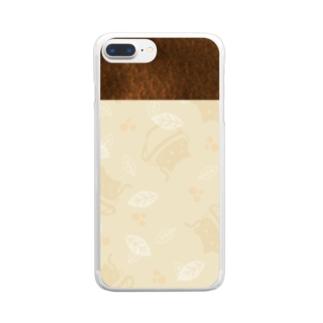 コーヒーねこ ふんわりコーヒー色 Clear smartphone cases