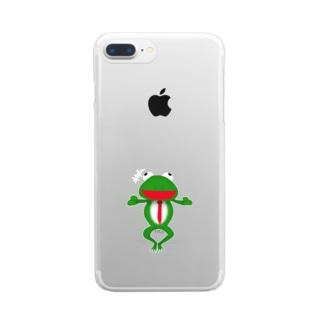 ざまぁガエル Clear smartphone cases