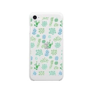 多肉植物とサボテン Clear smartphone cases
