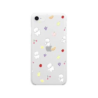 フルーツもりもりワヌ山 Clear smartphone cases