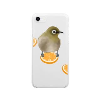 メジロとオレンジ Clear smartphone cases