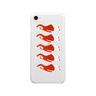 赤ワンピースの行進 Clear smartphone cases