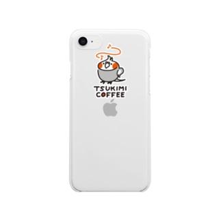 TSUKIMI COFFEE ロゴ(ごきげん) クリアスマートフォンケース