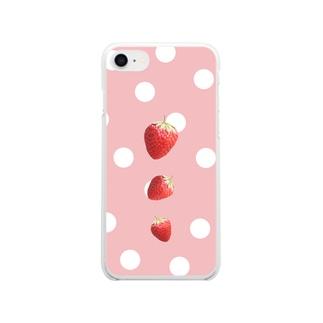 いちご水玉 Clear smartphone cases