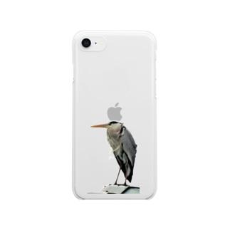 アオサギ君 Clear smartphone cases