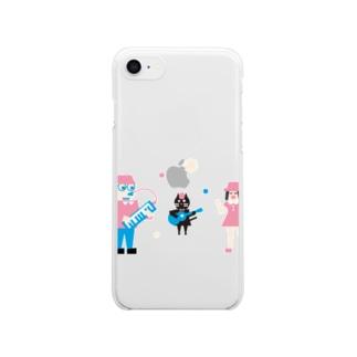 ネコと女の子とおじさんのバンド Clear smartphone cases