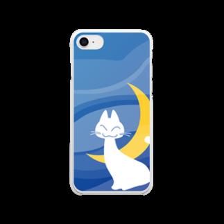 雑貨屋きゅう@suzuri支店の月夜の白猫(全面) Clear smartphone cases