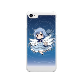 サリエル&ペタちゃん(白いマスコット)のスマホケース Clear smartphone cases