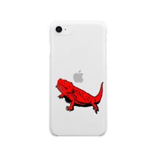 フトアゴ レッド Clear smartphone cases