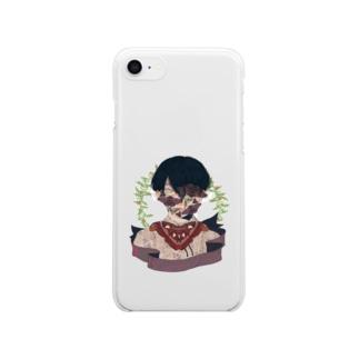 ガの強い男の子 Clear smartphone cases