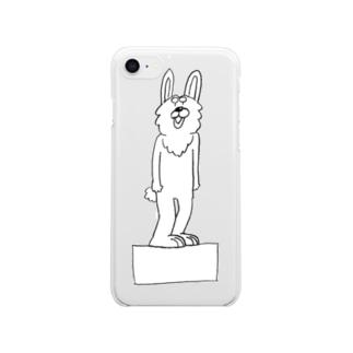 箱に立つウサギ クリアスマートフォンケース