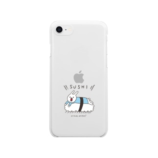 ウサギのウーのSUSHI [color] Clear smartphone cases