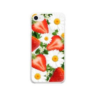 押し花風*イチゴ クリアスマートフォンケース