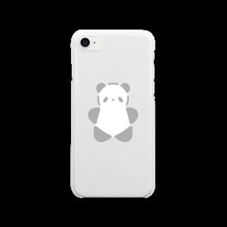 SIRO%(しろぱーせんと)のSIROPANDAワンポイント(大)(Gray) Clear smartphone cases