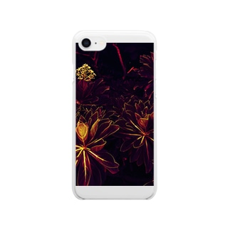 BLACK FLOWERS Clear smartphone cases