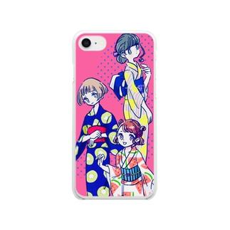 ふる〜つ浴衣 Clear smartphone cases