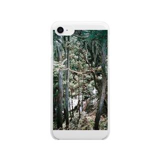 静かな冬の森 Clear smartphone cases
