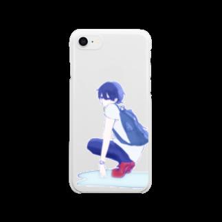雨涙透目@K2.pngのコンクリートヒートチェッカー Clear smartphone cases