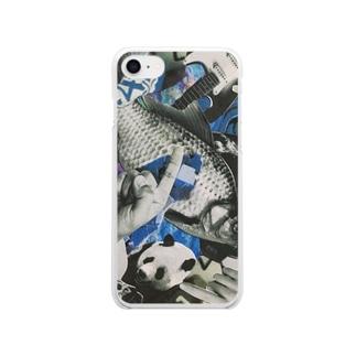 青いにぎやか Clear smartphone cases