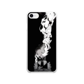 タバコ吸ってるメイドさん Clear smartphone cases