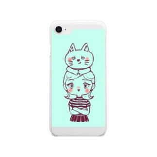 頭の上にゃんこ Clear smartphone cases