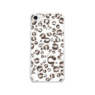 ひょう柄猫ちゃん白 Clear smartphone cases