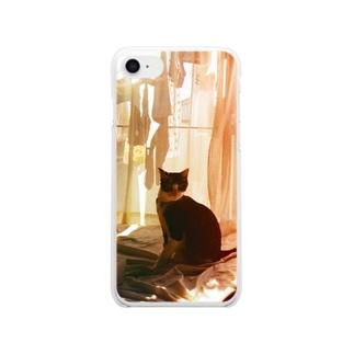 猫のいる生活 Clear smartphone cases