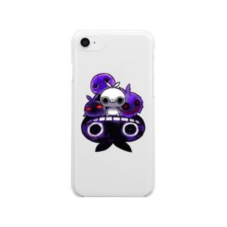 クレイジー闇うさぎ(キセカエパープル) Clear smartphone cases