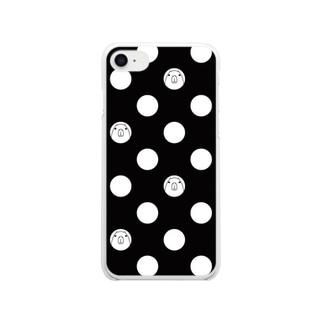 モノトーンドット柄カピバラ Clear smartphone cases