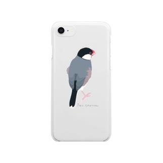 たそがれ桜文鳥 Clear smartphone cases