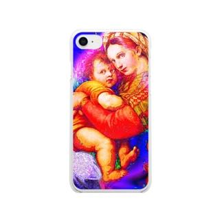 聖母子像 Clear smartphone cases