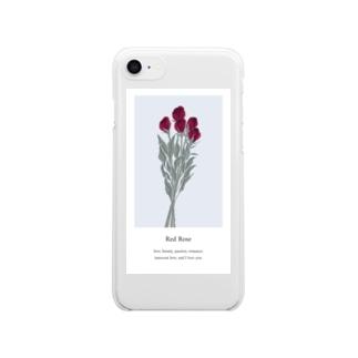 花言葉 rose Clear smartphone cases