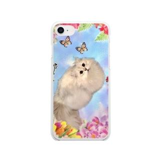 お花と猫 Clear smartphone cases